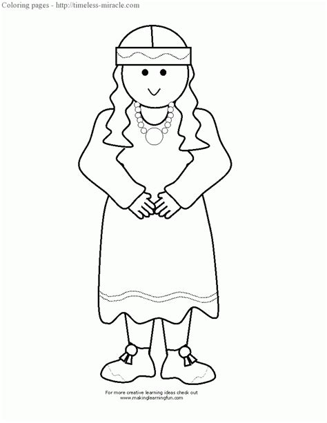 coloring page of a pilgrim girl pilgrim girl coloring page