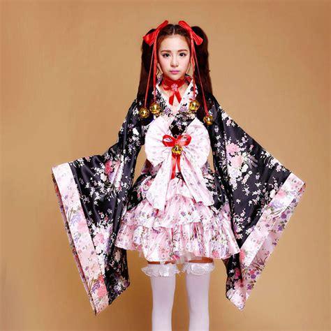 kimono pattern anime japanese kimono lolita maid costume cosplay sakura pattern