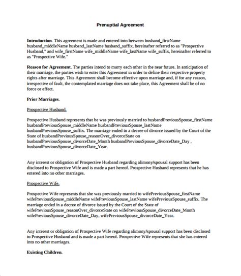 9 Sle Free Prenuptial Agreement Templates To Download Sle Templates Prenup Template Free