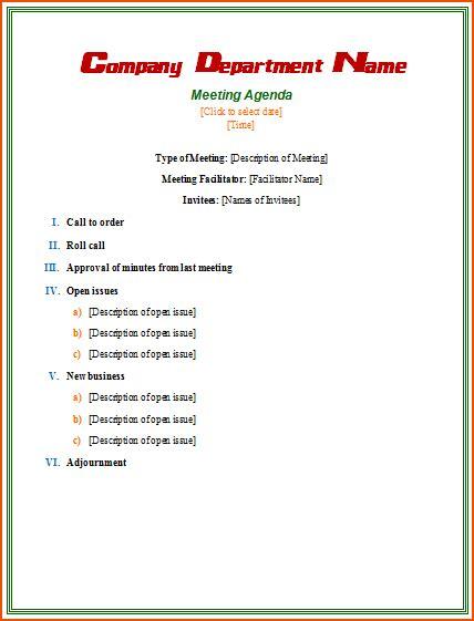 4 Informal Meeting Bookletemplate Org Informal Meeting Minutes Template