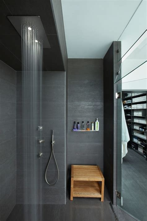 Modern Shower Designs Bathroom With Charcoal Tile Tub