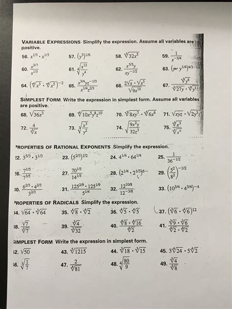 extra pattern practice unit 13 geometry g simplifying radicals worksheet 1 answers