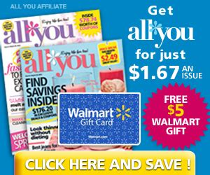 What S On My Walmart Gift Card - all you magazine just 1 67 per issue free 5 walmart gift card