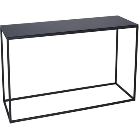 buy black glass and black metal console table from fusion