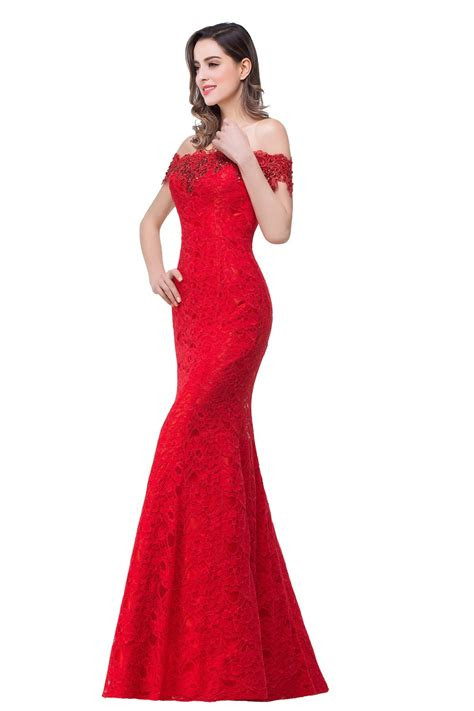 Under $50 Elegant Crystal Beaded Red Royal Blue Lace Mermaid Long Evening Dresses 2017 Prom