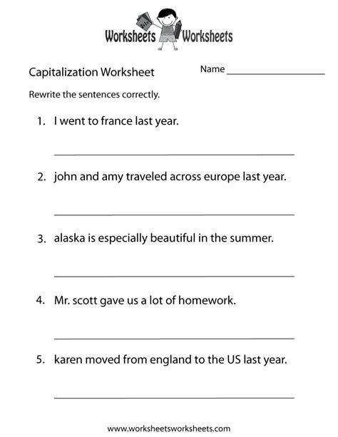 printable worksheets on capitalization and punctuation capitalization practice worksheet free printable