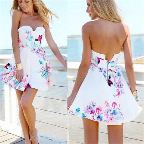 Malisa Flowery Flare Mini Dress dress haute rogue strapless dress floral dress skater