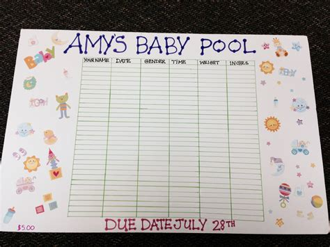 Guessing Baby Pool Template Baby Pinterest Baby Pool Babies And Baby Shower Games Office Baby Pool Template Excel