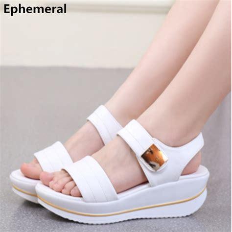 Sepatu Sandal Platform Heels Chunky Size 43 high heels shoes microfiber wedges chunky heels