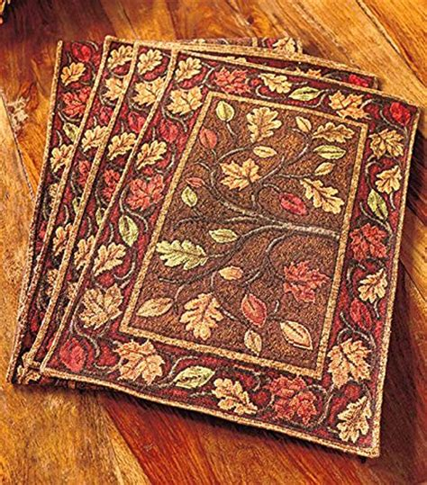 harvest leaves tapestry placemats set of 4 home garden