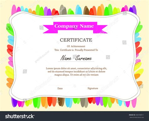 colorful certificate template colorful certificate template with additional and ribbon