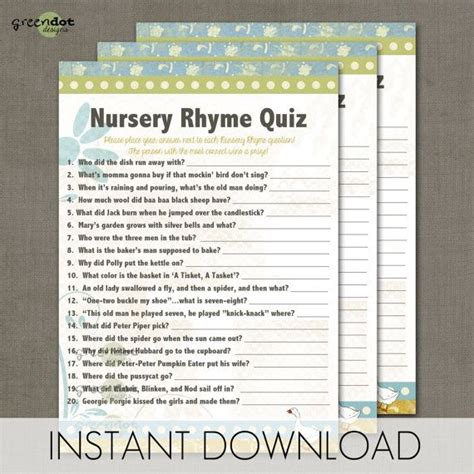 printable quiz cards instant download nursery rhyme quiz baby shower game card