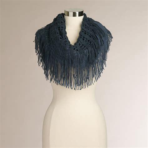 blue two tone fringed infinity scarf world market