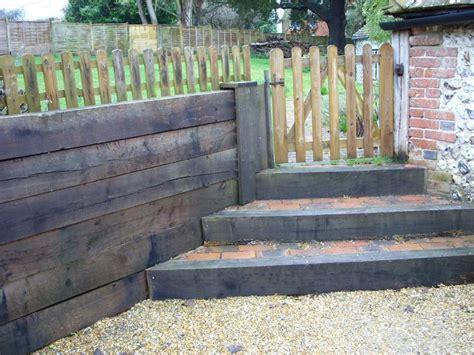 Retaining Sleeper Wall by Steps Retaining Wall From New Oak Railway Sleepers