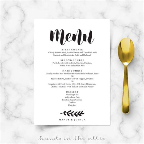 buffet cards template simple printable stationery weddings celebrations