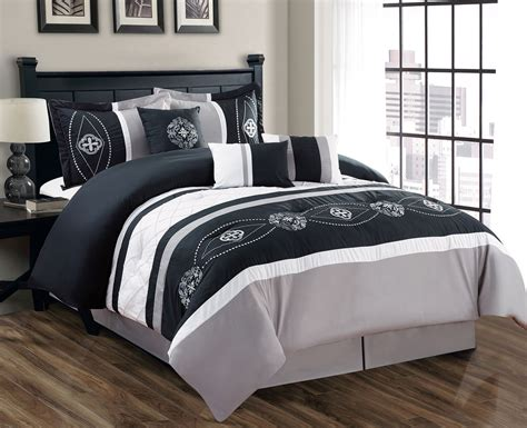 7 piece floral embroidered black gray white comforter set