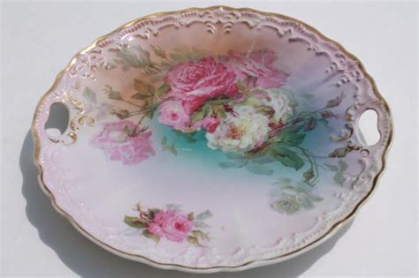 An Antique Notebook Cabbages Roses antique vintage china plates w painted roses shabby
