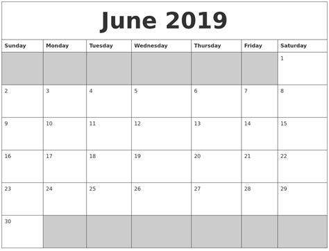Calendar 2019 June June 2019 Blank Printable Calendar
