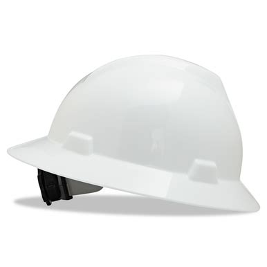Safety Helmet Viva Fas Trac msa 475369 v gard white brim hat with fas trac suspension industrial safety products