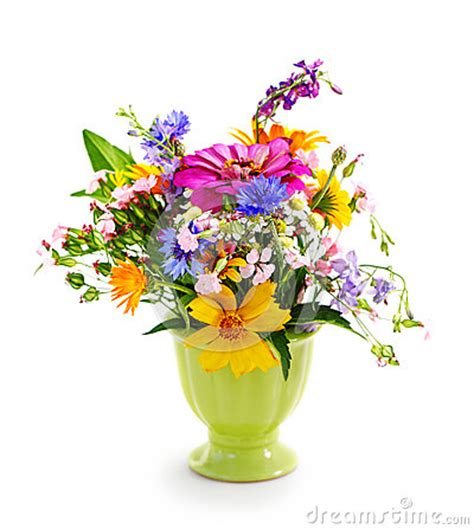 Bouquet Of Flowers In A Vase by Bouquet Of Flowers In The Green Vase Royalty Free Stock