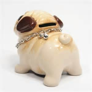 pug ceramic lover gifts decor handmade coin money