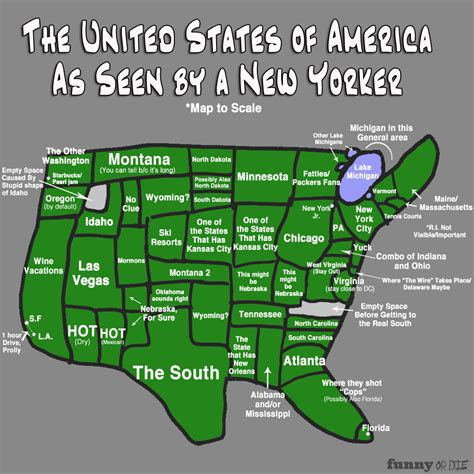 america new york map the map of america as seen by a new yorker