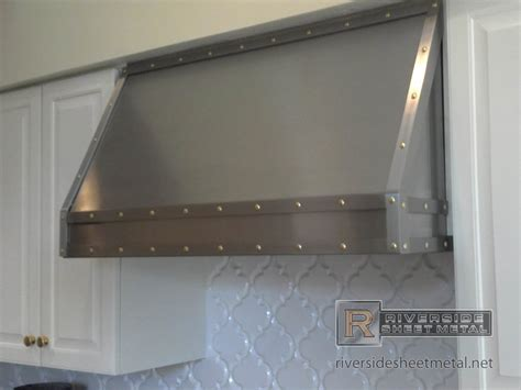 Used Metal Kitchen Cabinets For Sale by Stainless Steel Custom Hood Vent With Band And Brass Rivets