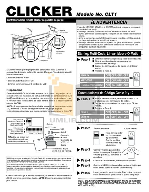 Garage Door Opener Clicker Manual Pdf Manual For Chamberlain Other Liftmaster 1255 2r Garage Door Openers