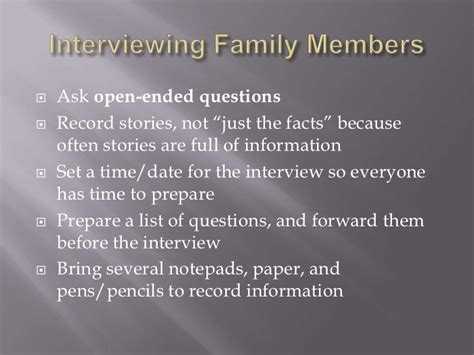 biography questions for family members genealogy for beginners