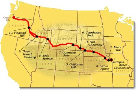 map of oregon trail through kansas map image of suggested to visit on the oregon