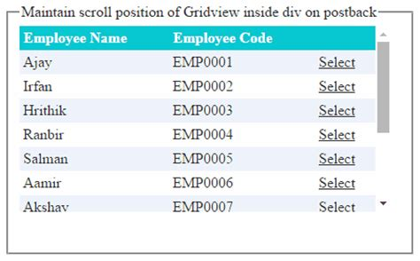 html div scrollbar maintain scroll position of gridview repeater inside div