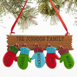 personalized family ornament with 5 names warm mitten
