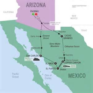 Copper Canyon Mexico Map by 10 Day Arizona Mexico And Copper Canyon Uk Sightseeing Tours