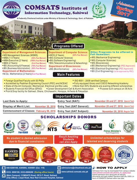 Comsats Mba by 2017 Admissions