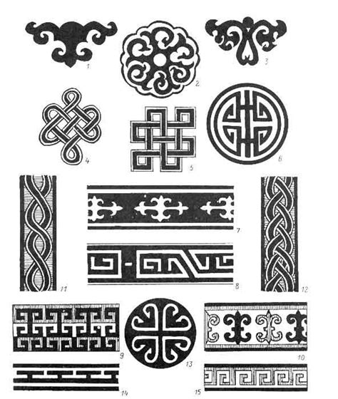 mongolian tribal tattoo ornaments of the mongolian tribe text