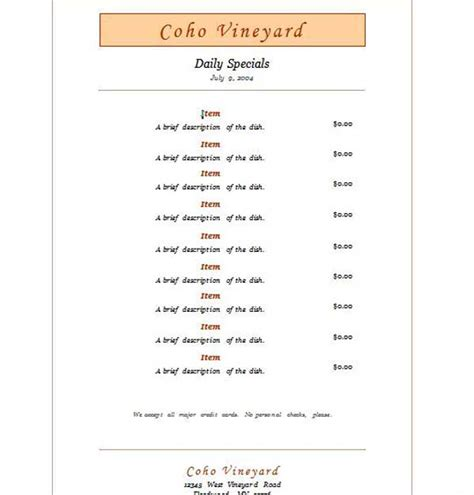 Free Restaurant Menu Templates Microsoft Word by Free Restaurant Menu Templates Microsoft Word Templates