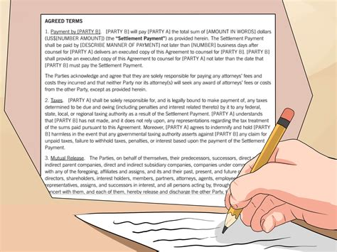 up letter wikihow how to write a settlement agreement with pictures wikihow