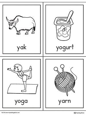 Y Words Coloring Pages by Letter Y Words And Pictures Printable Cards Yak Yogurt