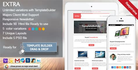 Extra Responsive E Mail Template By Akedodee Themeforest Envato Email Templates