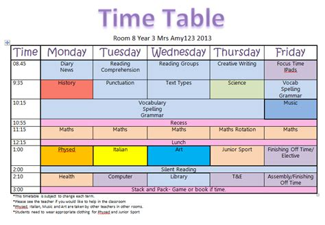 teaching timetable template mrsamy123 august 2013