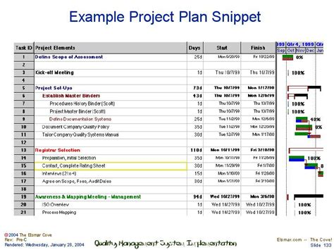 project plan snippet