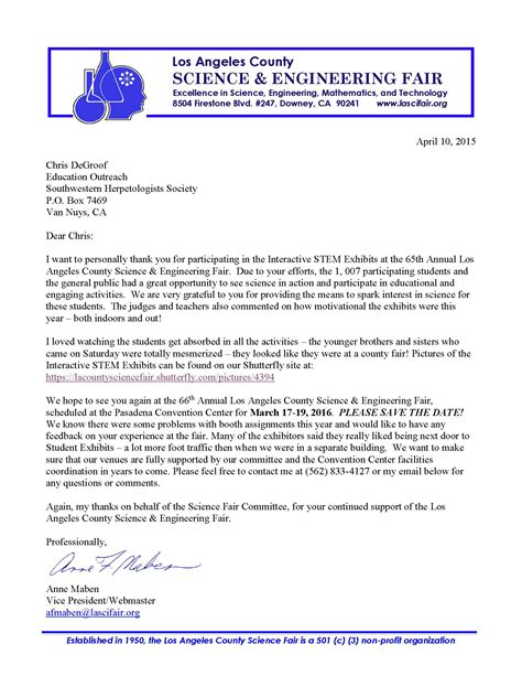 Thank You Letter To Your Science Southwestern Herpetologists Society Thank You Letter To The Swhs From The La County Science