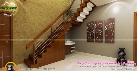 kerala home design staircase stair area upper living bedroom interiors kerala home