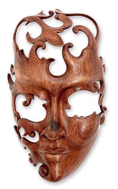 modern wood mask  indonesia lover novica
