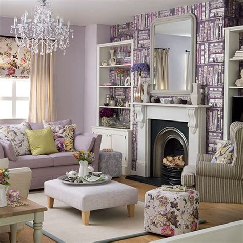 living room wallpaper b q purple living room with library print wallpaper living room decorating housetohome co uk