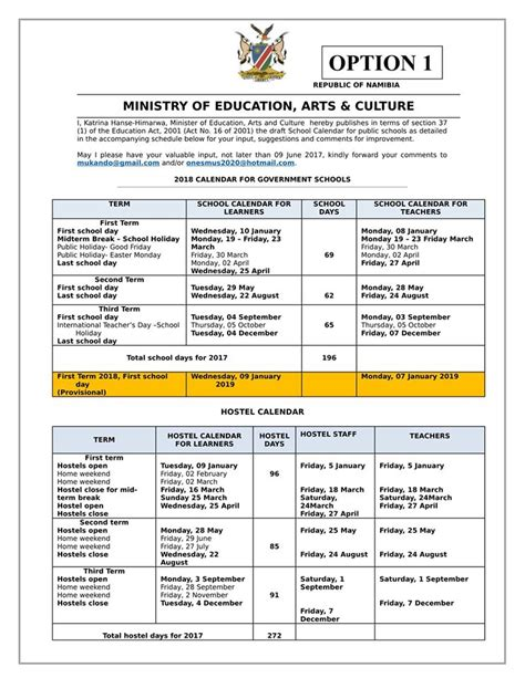 Namibia Calend 2018 2018 Draft School Calendar For Schools Naadmissions