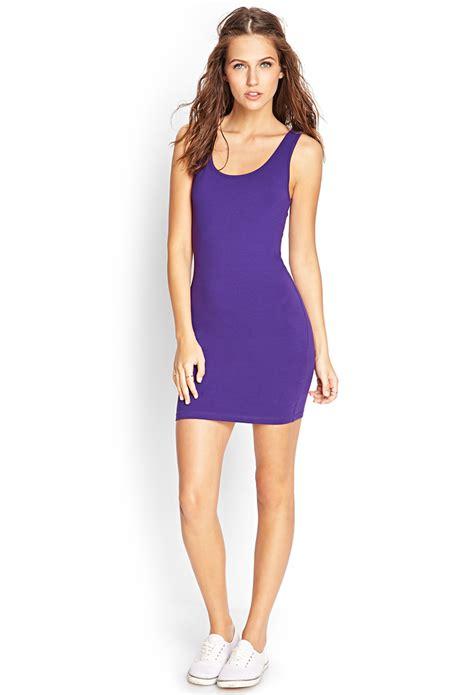 Dress Bodycon Stripe Blue Purple Reqame forever 21 favorite sleeveless bodycon dress in purple lyst