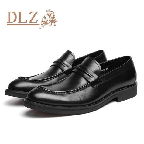 2015 mens casual shoes black slip on genuine leather