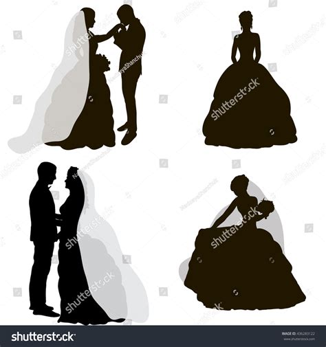 Wedding And Groom Vector by Vector Isolated Silhouette Wedding Groom Stock