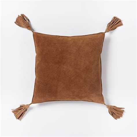 Tassels For Pillows by Suede Tassel Pillow Cover Cinnamon West Elm